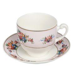 Vintage China Rose Tea Cup & Saucer | DotComGiftShop