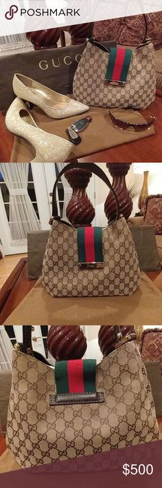 Authentic Gucci Handbag This handbag is in good condition. The inside liner has minor marks and the outside has 2 small places at each corner that aren't visible unless you're really looking. The bag measures 8 in from top of bag to bottom with an 8 in handle drop and 11 across. Does have minor scratches on hardware but no color changes. Added pics. Gucci Bags Shoulder Bags