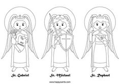 Free downloadable coloring page from Happy Saints- the 3 archangels! St. Michael, St. Gabriel, and St. Raphael. This would be perfect for Michaelmas! :-)
