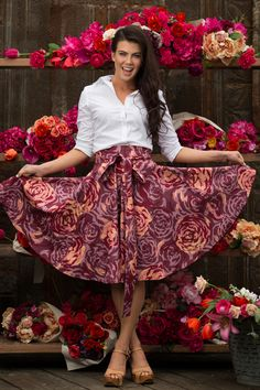 Knee Length Rose by any other Name Skirt