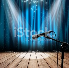 Stage and microphone royalty-free stock photo
