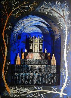 Ed Kluz - Painswick Use of contrasting colours. Spring Term, English Romantic, Castle Pictures, Collage Techniques, Fairytale Fantasies, Papercutting, Theatres, Children's Book Illustration, Set Design