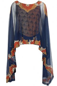 Navy blue vintage flower pop tulle cape available only at Pernia's Pop Up… Latest African Fashion Dresses, African Inspired Fashion, African Print Dresses, African Print Fashion, Africa Fashion, Ethnic Fashion, African Dress, Fashion Prints, Indian Fashion