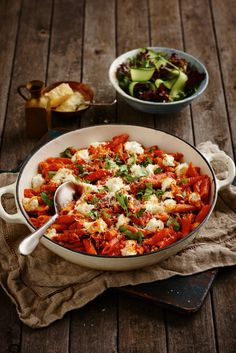 Bacon, Goat Cheese and Basil Pasta Bake: Perfect for a cold winter night, this pasta bake is sure to warm you up. Crispy bacon with oozing goats cheese is a sensation on the tastebuds!