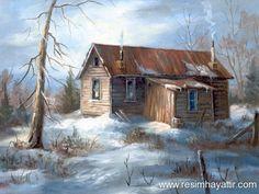 kar manzara Yağlıboya