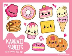 50%OFF SALE, Kawaii clipart, kawaii sweets clipart, kawaii food clipart, cake clipart, donut clipart, macaron clipart, cookie,Commercial use