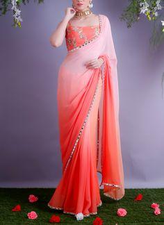 Shop Shaded Blush Tangerine Sari from Renee Label Simple Sarees, Trendy Sarees, Stylish Sarees, Fancy Sarees, Stylish Dresses, Sari Blouse, Sari Dress, Saree Blouse Designs, Chiffon Saree