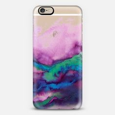 WINTER WAVES 2 Watercolor Purple Green Turquoise Blue Ocean Abstract Painting Colorful Ombre Transparent Sea Coastal Lime Aqua Indigo Marble Chic Modern Elegant Fine Art Design - Classic Snap Case