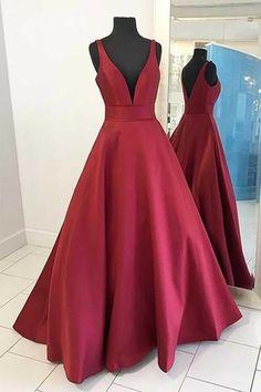 Red satins V-neck long dress,A-line simple long prom dresses