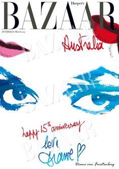 Harper's Bazaar March 2013 15th anniversary cover designed by Diane Von Furstenberg.