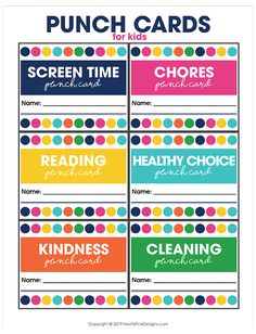 Keep your kids focused on the good stuff! Use these free printable punch cards to help them get chores done, make healthy choices, decrease screen time and more! Free Printable Behavior Chart, Chore Chart Kids, Printable Cards, Free Printables, Reward System For Kids, Kids Rewards, Behavior Punch Cards, Kids Behavior, Behavior Board