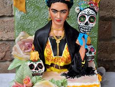 Frida Kahlo cake for Dia de la muertos. Sugar skull bakers collaboration 2014. She is sculpted fondant, 1:3 scale