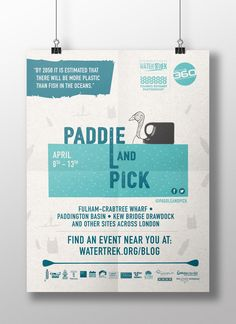 #Paddleandpick Poster to promote cleaning up London's waterways