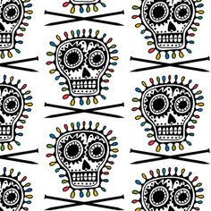 KNITTING NEEDLES WITH SKULLS BLACK COTTON FABRIC FQ