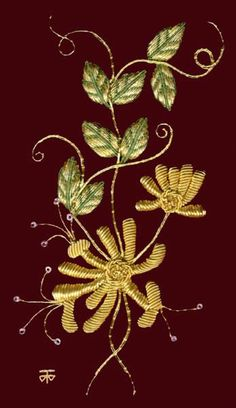 Goldwork Embroidery Kits and Threads - Embroidery Designs, Hand Gold Embroidery Designs as an Alternative to Cross-stitch. Hand Embroidery Kits, Embroidery Supplies, Gold Embroidery, Cross Stitch Embroidery, Embroidery Designs, Jacobean Embroidery, Embroidery For Beginners, Embroidery Techniques, Blackwork Patterns