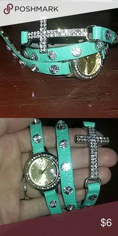Bracelet Teal Cross/watch wrap around bracelet. Perfect condition! Accessories