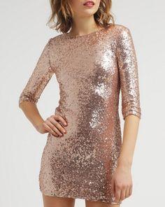 dc5f974e24 TFNC PARIS SQUARE Sukienka złota obcisła rose gold .