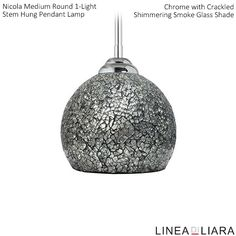 ✐Color: Gray ✦ Nicola MEDIUM Round Stem Hung Pendant Lamp with Crackled Glass Shade-- Shimmering Smoke by Linea di Liara ✦ Uses 1 Medium Base (E26) Bulb - 100W Max (Not Included) ✦ http://lineadiliara.com/collections/pendant/products/nicola-medium-pendant #Lighting