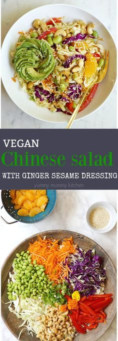 This delicious Asian salad like a vegan version of a Chinese chicken salad and filled with healthy ingredients like cabbage, veggies, and cashews. It makes a wonderful no-cook dinner.