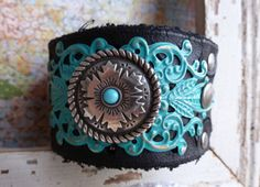 WESTERN TURQUOISE Concho & Filigree Leather Cuff Bracelet - Cowgirl Boho Rocker Southwestern Vintage Country Native by BellaNotteDesigns on Etsy https://www.etsy.com/listing/178313569/western-turquoise-concho-filigree