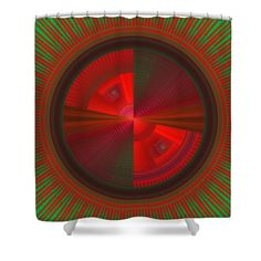 """Red and green futuristic disc design on shower curtains. These colorful olorful curtains are made from 100% polyester fabric and include 12 holes at the top of curtain for simple hanging from your own rings. Shower curtains are 71"""" wide by 74"""" tall....."""