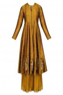 Ochre Zardozi Embroidered Flared Anarkali and Sharara Pants Set