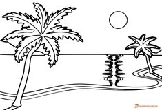 Beach Coloring Pages - Free Printable Outline Pictures Beach Coloring Pages, Truck Coloring Pages, Printable Coloring Pages, Coloring Sheets, Coloring Pages For Kids, Black And White Beach, Black N White Images, Outline Pictures, How To Buy Land