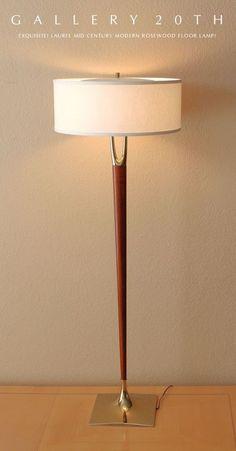 MID CENTURY MODERN LAUREL ROSEWOOD FLOOR LAMP (vintage floor lamp of the same design as Rejuvenation's reproduction table lamp)