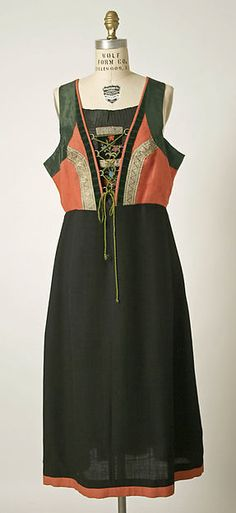 Embroidered wool and linen dress, Austrian, 1700-1943.