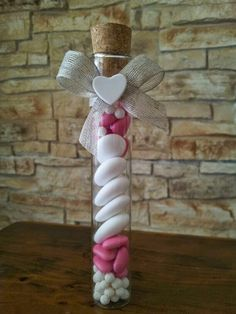 twinkle love...: Glass ampoule with confetti decorated with ribbon and a small perfumed heart-shaped chalk