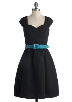 Committee Celebration Dress by Myrtlewood - Black, Solid, Belted, Casual, Fit & Flare, Cap Sleeves, Better, Sweetheart, Exclusives, Woven, M...