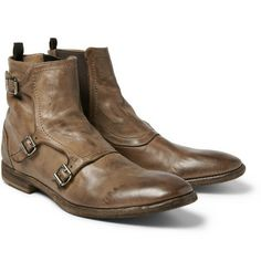 Alexander Mcqueen - triple monk-strap washed leather boots