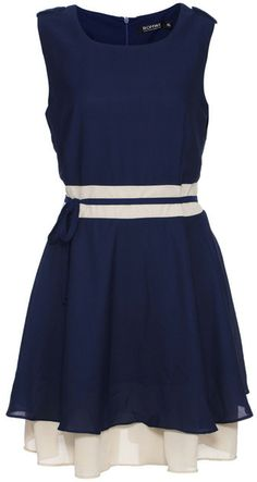 Romwe Color Block Self-tied Pleated Navy-blue Dress on shopstyle.com
