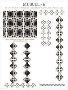 Folk Embroidery Patterns maria - i - panaitescu - ie MUSCEL pixels Embroidery Motifs, Machine Embroidery Patterns, Embroidery Designs, Learn Embroidery, Cross Stitch Borders, Cross Stitch Patterns, Blackwork, Antique Quilts, Beading Patterns