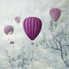 Hot Air Balloons in the Clouds. Illustration/Vector by Hitdelight Balloon Clouds, Pink Balloons, Balloon Rides, Hot Air Balloon, Ballon Rose, Art Texture, Montage, Wall Murals, Concept Art