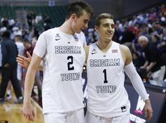 Brigham Young Cougars guard Zac Seljaas (2) and Brigham Young Cougars guard Chase Fischer (1) leave the court during the WCC tournament in Las Vegas Saturday, March 5, 2016. BYU won 72-60.  (Jeffrey D. Allred, )