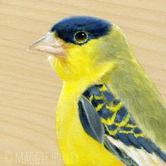 Lesser Goldfinch - Bird Art Print on Wood - Maggie Hurley ~ Whimsy & Whatnot