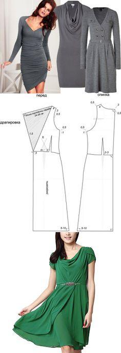 Vestido god tecido escoc s passo a passo do molde for Cowl neck wedding dress pattern