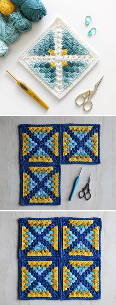 Crochet Square by LoopyStitch - Design PeakYou can find Crochet squares and more on our website.Crochet Square by LoopyStitch - Design Peak Crochet Motifs, Granny Square Crochet Pattern, Crochet Blocks, Crochet Blanket Patterns, Knitting Patterns, Afghan Patterns, Crochet Blankets, Granny Square Tutorial, Crochet Squares Afghan