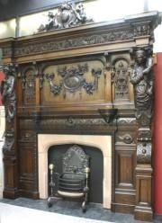 Antique Fireplace Mantels French Hand Carved Wood Fireplace