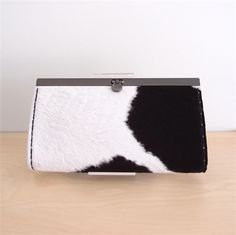 Womens Leather Clutch Wallet Purse - Classic Black and White