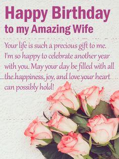 Happy Birthday Wife Quotes, Birthday Message For Wife, Birthday Wishes For Wife, Romantic Birthday Wishes, Birthday Poems, Happy Birthday Wishes Cards, Happy Birthday Love, Birthday Cards For Her, Happy Birthday Images