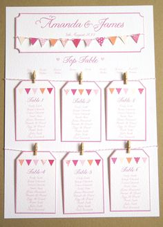 Pink Bunting Wedding Table Plan