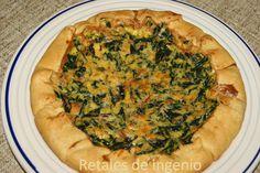 Retales de ingenio: Recetas y Dietética: Quiche de espinacas con bacon y queso