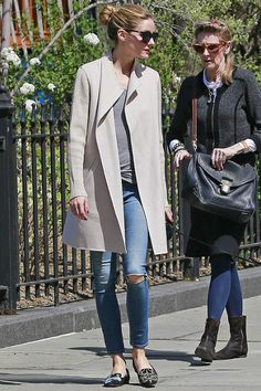 Olivia Palermo wearing Le Specs Halfmoon Magic Sunglasses, Alexander McQueen Suede Embroidered Loafers and Kinross Wool & Cashmere Coat