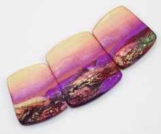 Handmade Polymer Clay 3 Piece Statement Focal-Graduated Bead Set-Pink Yellow Mango Beads-Rustic Landscape-PA 8895 by StudioStJames on Etsy