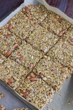 Loaded nut & seed granola bars that are packed with protein and wholesome ingredients that will fill you up! We also like to break the bars up into chunks and eat it like cereal with coconut milk!