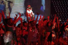 Dizzee Rascal performs during the opening ceremony at the 2012 London Summer Olympics on July 27, 2012