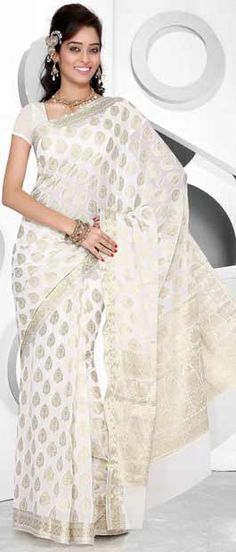 Off White Viscose Saree With Blouse http://www.utsavfashion.com/store/sarees-large.aspx?icode=smr2101