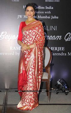 Deepika Padukone launched the biography of veteran actress Hema Malini in Mumbai on Monday. Sabyasachi Sarees, Banarsi Saree, Ethnic Sarees, Indian Sarees, Mumbai, Indian Bridal Outfits, Indian Dresses, Indian Clothes, Deepika Padukone Saree